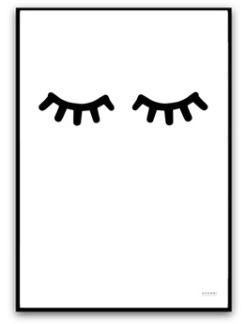 Poster - Sleepy eyes - Svart A4 matt fotopapper
