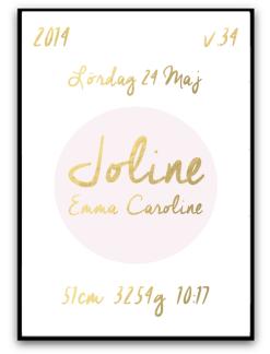 Namn & födelsebild - Rosa/guld - A4 matt fotopapper