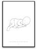 Målning baby - Namn & födelsebild - A3 matt fotopapper (stående)