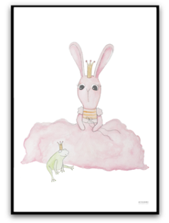 Bunny and prince frog - A4 matt fotopapper
