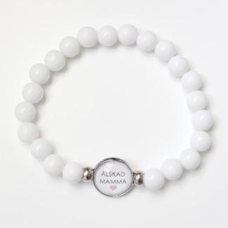 Älskad mamma - vitt armband
