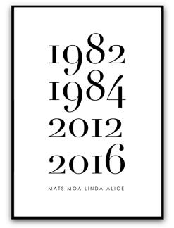 Poster - Familj med årtal & namn - A4 matt fotopapper