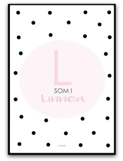 Namnbild - Dimrosa/svart - A4 matt fotopapper