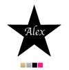 Wall stickers - Stjärna med valfri text - Svart 20cm
