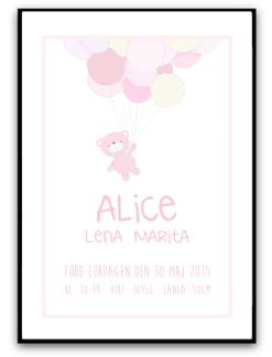 Namn & Födelsebild -Rosa nalle - A4  matt fotopapper