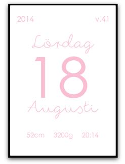 Födelsebild - Rosa - A4 matt fotopapper