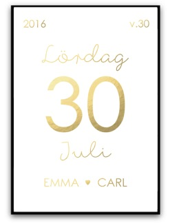 Förlovning eller gifta poster - Guld A4 matt fotopapper