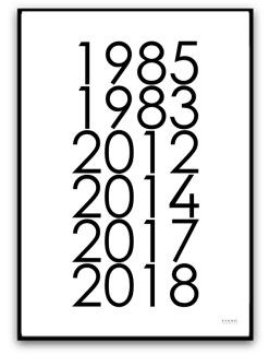 Poster - Familj med årtal - A4 matt fotopapper