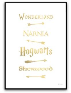 Poster - Fairy Tale Road Sign - A4 matt fotopapper, guld text