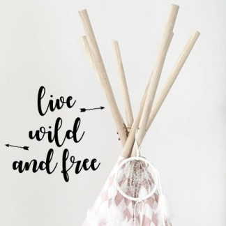 Wall stickers - Live wild and free - svart