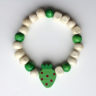 Barnarmband - Grönt/trä barnarmband med jordgubbe
