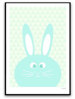 Turkos kanin med mönster - A4 matt fotopapper