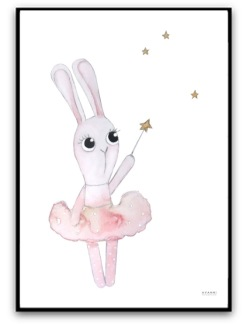 Poster - Ballerina bunny under the stars - A4 matt fotopapper