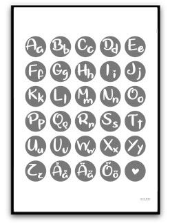 Poster - Alfabetet - A4 matt fotopapper, grå
