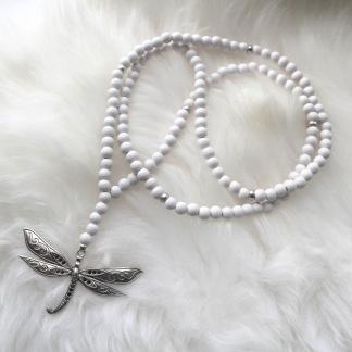 Långt trä halsband - Vitt halsband trollslända
