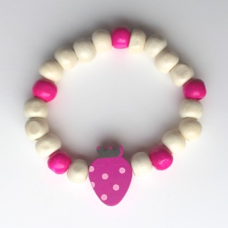 Barnarmband - Cerist/ trä barnarmband med jordgubbe
