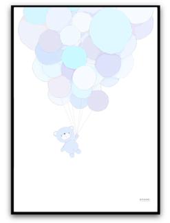 Nalle flyger - Blå A5 matt fotopapper