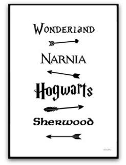 Poster- Fairy Tale Road Sign - A4 matt fotopapper svart text