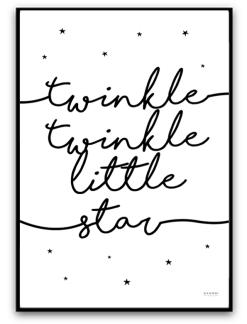 Twinkle twinkle little star - Svart A4 matt fotopapper
