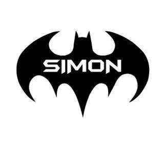 Schablon - Batman med egen text - 15cm