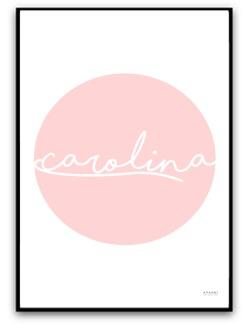 Namnbild - Rosa bubbla - A4 matt fotopapper