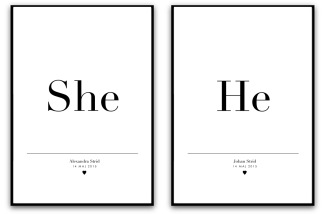 Parposter - She, he - A5 matt fotopapper