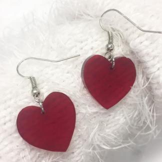 Örhängen - Hjärtan - Rött