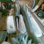 Järnskelettet bytes ut mot rostrfitt syrafast stålskelett.