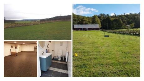 Vår nya lydnadsplan med träningsrum, fikarum och wc i angränsande länga.