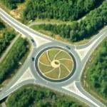 Flygbild över rondellen