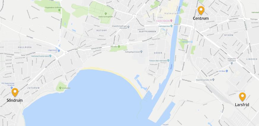 Karta över Halmstad centrum
