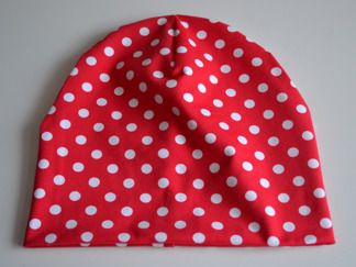 Burken mössa röd med vita prickar - Burken röd vita prickar stl 48
