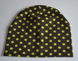 Mössa brun med lime prickar - Burken brun med lime prickar stl 44