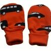Påsvantar utan tumme orange med bilar - Påsvantar orange med bilar stl 0-6 månader