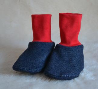 Tossor jeansjersey, röd - Tossor jeans röd stl 0-6 mån