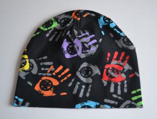 Mössa svart med handavtryck - Mössa svart, handavtryck stl 44