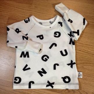 Ragge långärmad t-shirt bokstäver - Ragge vit m bokstäver stl 74