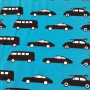 Burken mössa svarta bilar på blå botten