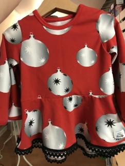 Klänning / tunika med julkulor - Klänning med julkulor stl 92