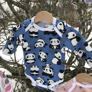 Body blå med pandor till baby - Body blå med pandor stl 56