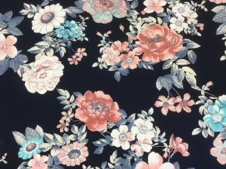Blommor på mörkblå botten trikåtyg - Blommor marinblå botten 1,5 meter