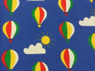 Luftballonger på blå botten trikåtyg - Luftballong tyg 1 meter