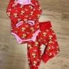 Baby byxor röd vild bebis ekologisk bomull - Babybyxa röd vild bebis stl 74