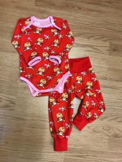 Baby byxor röd vild bebis ekologisk bomull - Babybyxa röd vild bebis stl 62