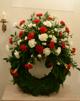 Begravningskrans - Begravningskrans röd & vit (enligt bild)