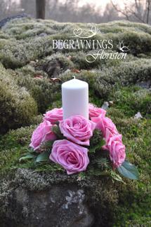 Ljusarrangemang - Rosa rosor (enligt bild)