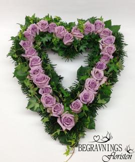 Hjärta - Lila rosor (enligt bild)
