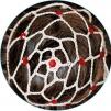 Hårnät med stenar - Beige m röda stenar