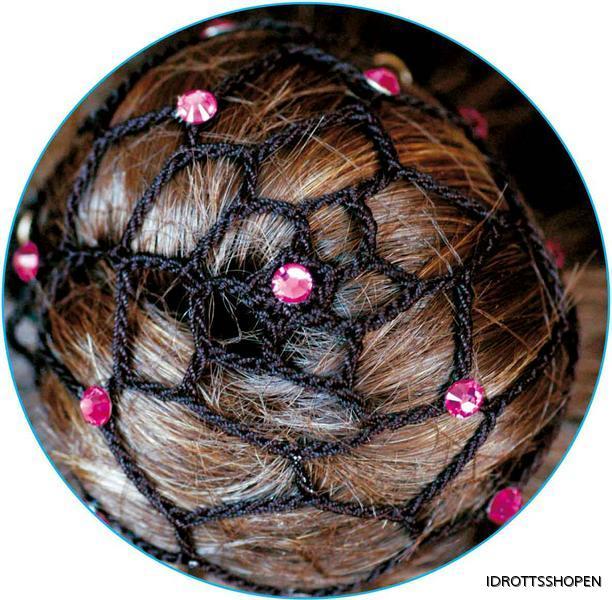 Svart hårnät med cerise stenar