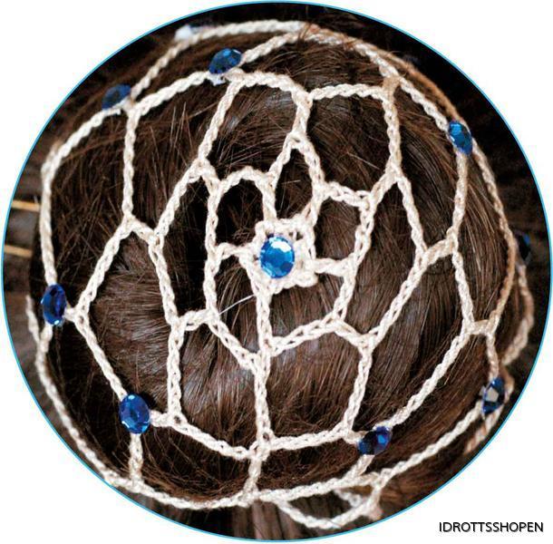 Beige hårnät med blå stenar